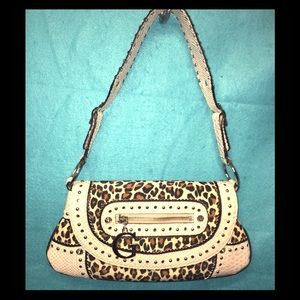 Guess's Leopard Print Bag w/ Cream Fake Snake Trim